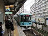 ホームへ入線中の800系電車