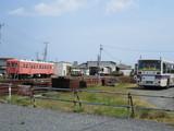バス車庫端から那珂湊駅構内を撮る