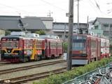 留置線で昼寝中の電車4両