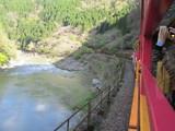 保津峡を縫うように走るトロッコ列車