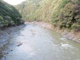 旧線鉄橋から見た保津峡