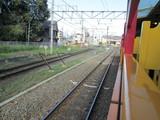 トロッコ嵯峨駅へ進入する