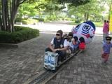 子供が駆けってさんてつくん電車を追う
