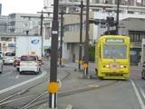 清輝橋に到着間際の岡山駅前行電車