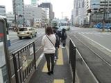 朝ラッシュ時の柳川電停