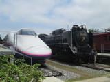 E2系新幹線とD51形蒸気機関車
