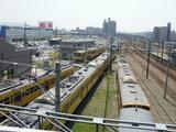 黄色い電車の塊